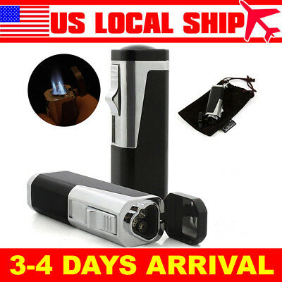 Triple Torch Cigar Lighter Butane Torch Windproof Cigarette Jet Gas Refillable
