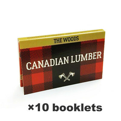 """CAN*ADIAN LUM*BER 1.0"""" Wood Cigarette Rolling Papers 10 booklets Double Window"""