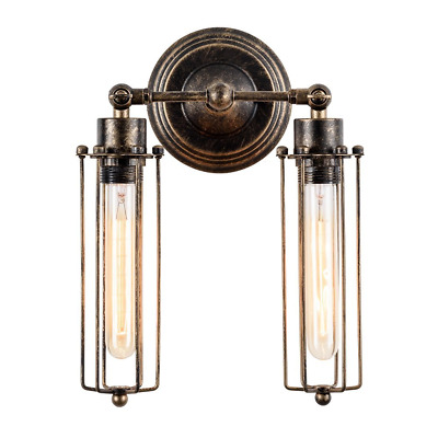 Vintage Wall Sconce 2-Light Simplicity Antique Oil Rubbed Mini Wire Cage Wall