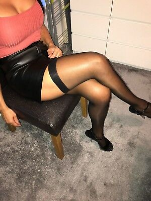 Ann Summers ladies FF black sheer stockings for use with suspenders seamed NEW