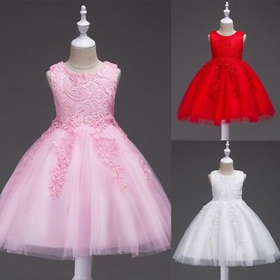 Kids Baby Girls Birthday Flower Dresses Princess Pageant Formal Party Tutu Dress