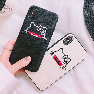 3075dfe8405aa6 Cartoon Silicone Hello Kitty Pocket TPU Phone Case Cover For iPhone X 8 7 6  Plus
