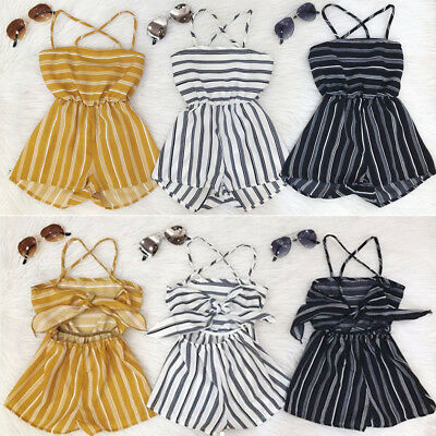Newborn Kids Baby Girl Stripe Romper Jumpsuit Playsuit Clothes Outfits Summer UK