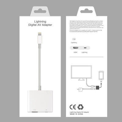UK Lightning To HDMI Digital AV TV Cable Adapter For iPad iPhone X 8 7 6 Plus
