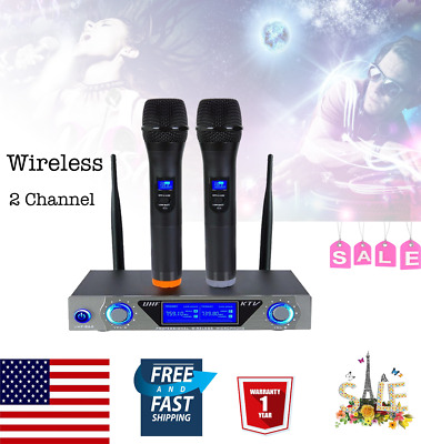 New Pro VHF Wireless 2 Channel Dual Handheld Microphone Mic System for Party KTV