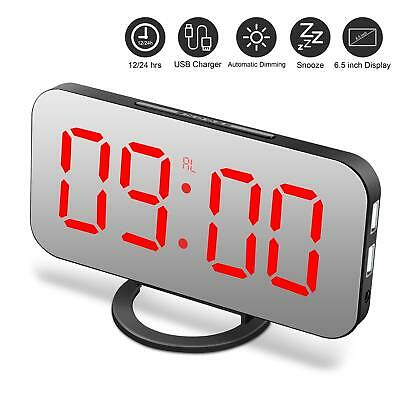 "Digital Alarm Clock w/ Large 6.5"" LED Dimmer Display,Dual USB Charger Ports"