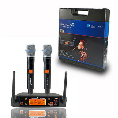 STARAUDIO Dual Channel UHF Handheld Wireless Microphone System Church DJ PA Mic