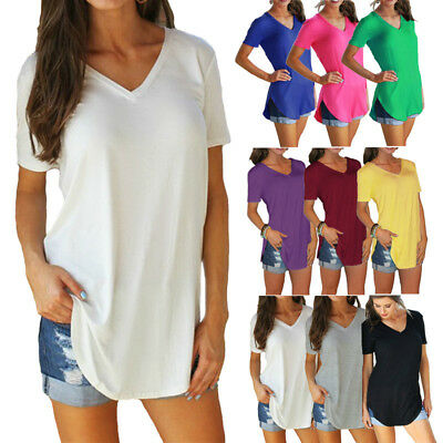 Women's T-shirt Summer Plus Size Cotton V Neck Short Sleeve Long Casual T-shirts