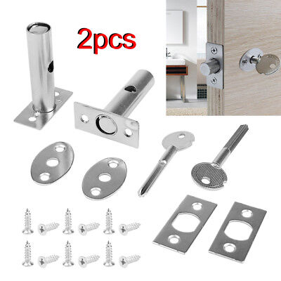 Set of 2 Security Door Bolts With Fittings & 2 Key Secure Strong Dead Lock Kit