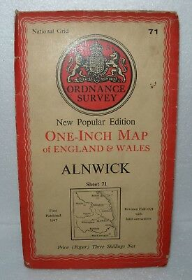 National Grid, Ordnance Survey, One Inch map, Alnwick. No' 71 1947