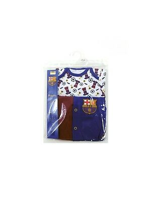 FCB Barcelona Football Club Baby 2 Pack Sleepsuits Officially Licensed Up to 3 M
