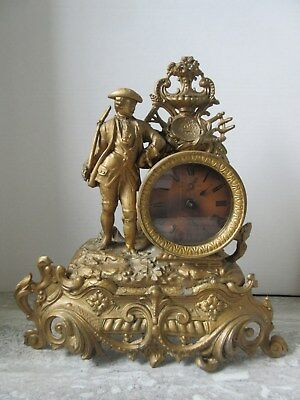 Antique French Spelter Cast Metal Figural Mantle Clock Soldier with Rifle