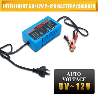 6/12V 2-12A Smart AGM GEL WET Battery Automatic Charger Maintainer for Car Boat
