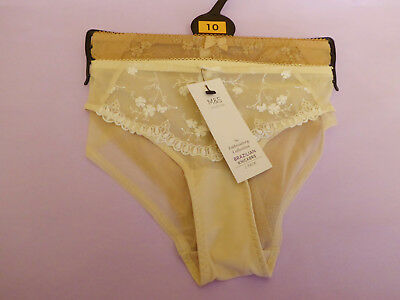 Marks & Spencer UK10 12 14 BNWT 2 pairs Embroidery nude-mix Brazilian knickers