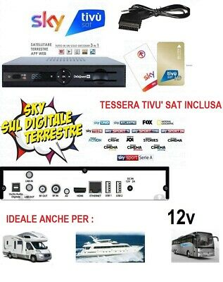 DECODER TIVUSAT HD COMPATIBILE TIVUSAT CON SCHEDA INCLUSA, new