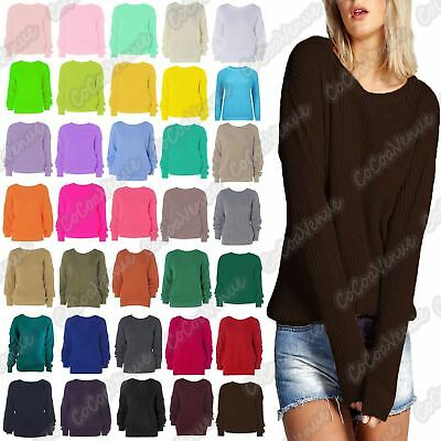 New Ladies LongSleeve Cable Knitted Casual Basic Jumper Baggy Winter Sweater Top