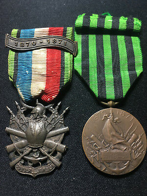 Original French Francoprussian 1870 war service medal and society medals Pre WW1
