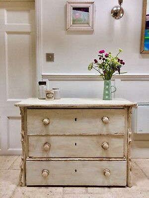 Antique Rustic Pine Painted Cream Sideboard Gustavian Style Chest Of Drawers