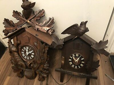 Two Antique German Black Forest Musical Cuckoo Clock