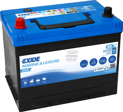 12V 80AH EXIDE ER350 Ultra Deep Cycle Leisure Marine Battery 3yr Wrnty