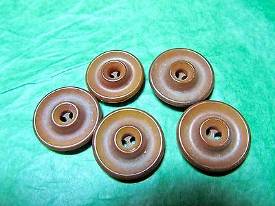 """(5) 3/4"""" Brown Vegetable Ivory 2-Hole Craft Buttons Lot (T9)"""