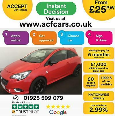 2015 Red Vauxhall Corsa 1.4 90 Limited Edition 3Dr Hatch Car Finance Fr £25 Pw