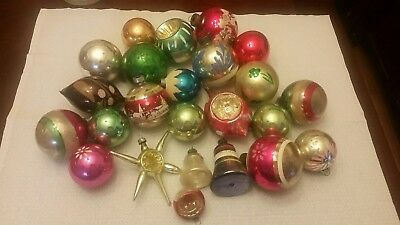 VINTAGE Mixed LOT of 24 Glass Christmas Ornaments Shiny Brite USA Poland Germany
