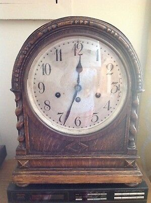 Antique Junghans Wurttemberg Mantle Clock In Solid Oak Case For Repair.