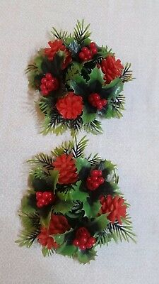 VINTAGE Flocked Pinecone and Holly with Berries Taper Candle Rings--Set of 2