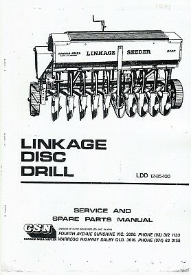Connor Shea Linkage Disc Drill instructions and parts book photocopy