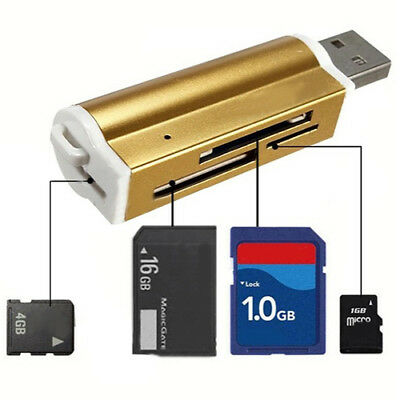 ALS_ Portable USB2.0 All In One Micro SD M2 TF MMC SDHC MS Memory Card Reader Ex