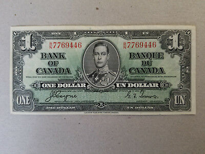 1937 Bank of Canada $1 banknote Signed Coyne / Towers
