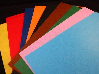 10 x Different Colour Felt Sheets - Ideal for Creativity  - Cards, Art or Crafts