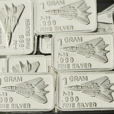 Lot of 30 X 1 Gram  .999 Fine Silver Bar Bullion  / F-14 Tomcat  WPT457 oz