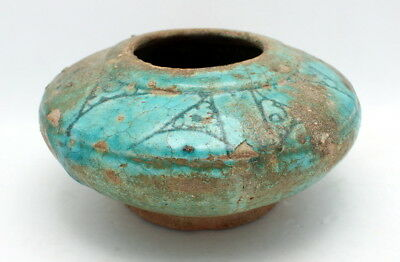 Ancient Persian Kashan Islamic Turquoise Glazed Ceramic Pottery Bowl