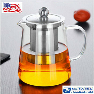 Heat Resistant Glass Teapot with Strainer Filter Infuser Glass Tea Kettle Home