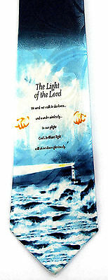 Light of the Lord Mens Necktie Religious Christian Jesus Lighthouse Neck Tie New
