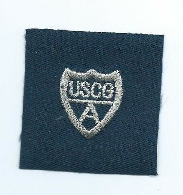 """United States Coast Guard Auxiliary sleeve device silver """"A"""" patch 2X2 #990"""
