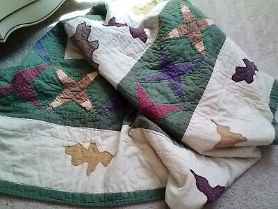 Vintage Hand Quilted  Patchwork &applique Stars  Leaves Quilt Throw-52X62-Pretty