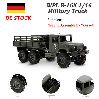 WPL B-16K 1/16 6WD Military Truck RC Off-road Crawler with Light Motor & J5X5