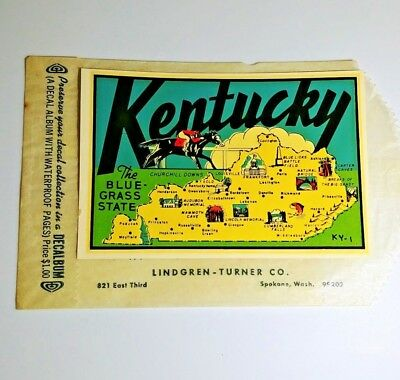 Kentucky State Auto Travel Decal Sticker Vintage