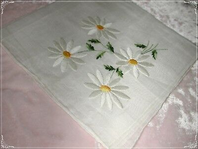 ANTIQUE Swiss Hand Embroidered Handkerchief, White/Green/ White Embr No. 26
