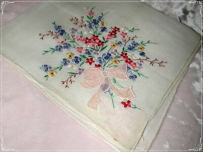 Swiss Hand Embroidered Handkerchief, Floral Colors on White Embroidery No. 36