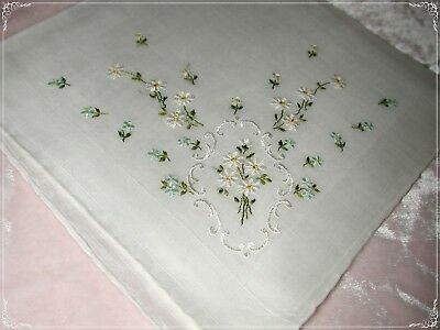 ANTIQUE Swiss Hand Embroidered Handkerchief, Delicate Florals White Embr. No 21