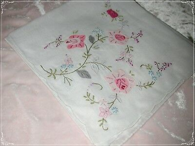 ANTIQUE Swiss Cotton Hand Embroidered Handkerchief, Pink Embroidery No. 47