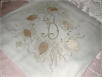 "ANTIQUE Swiss ""B"" Monogram Hand Embroidered Handkerchief, Olive/Tan White No.13"