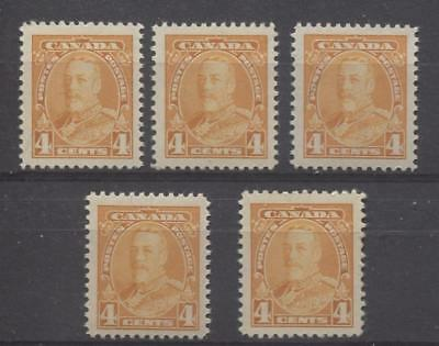 Canada #220 (SG#344) 4c Yellow Orge King George V 5 Different Printings VF-80 NH