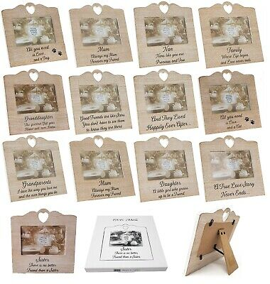 Wooden Heart Sentiment Picture Photo Frame Mum/Nan/Sister/Auntie/Friend Love
