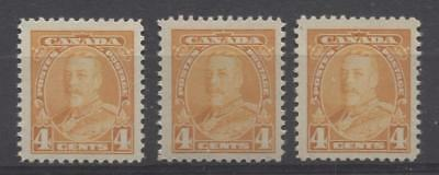 Canada #220 (SG#344)  4c Yellow Org King George V 3 Different Printings VF-75 NH