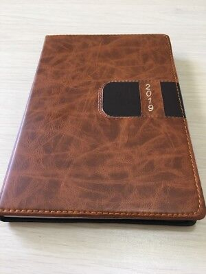 2019 Calendar Planner Appointment Book Daily Travel Agenda Notebook BROWN BLK